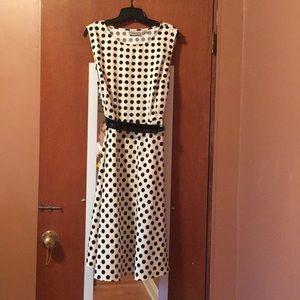 Black polka dot A-line dress